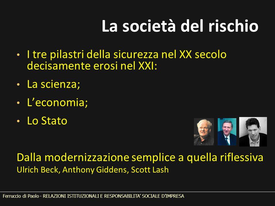 La società del rischio I tre pilastri della sicurezza nel XX secolo decisamente erosi nel XXI: La scienza; L'economia; Lo Stato Dalla modernizzazione