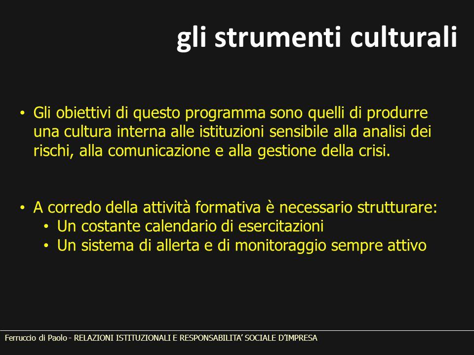 Ferruccio di Paolo - RELAZIONI ISTITUZIONALI E RESPONSABILITA' SOCIALE D'IMPRESA Gli obiettivi di questo programma sono quelli di produrre una cultura