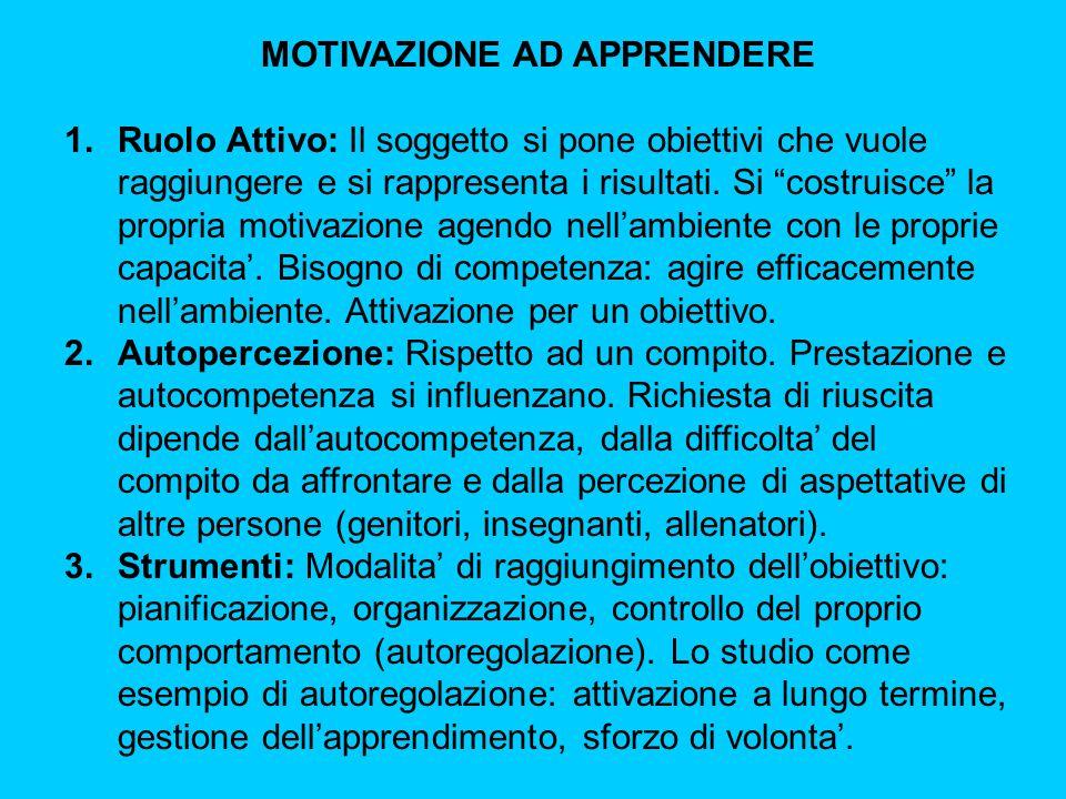 MOTIVAZIONE AD APPRENDERE 1.Ruolo Attivo: Il soggetto si pone obiettivi che vuole raggiungere e si rappresenta i risultati.