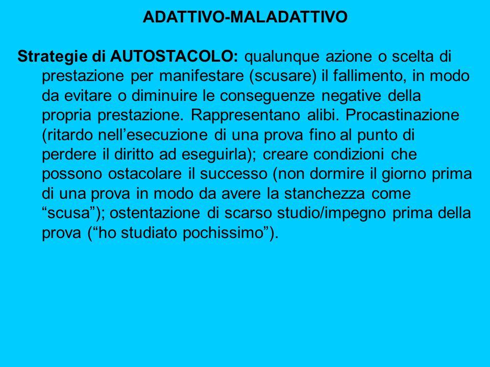 ADATTIVO-MALADATTIVO Strategie di AUTOSTACOLO: qualunque azione o scelta di prestazione per manifestare (scusare) il fallimento, in modo da evitare o diminuire le conseguenze negative della propria prestazione.