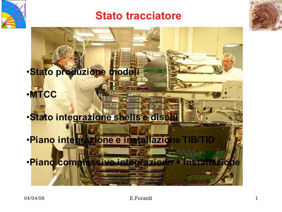 04/04/06E.Focardi1 Stato tracciatore Stato produzione moduli MTCC Stato integrazione shells e dischi Piano integrazione e installazione TIB/TID Piano complessivo integrazione + installazione