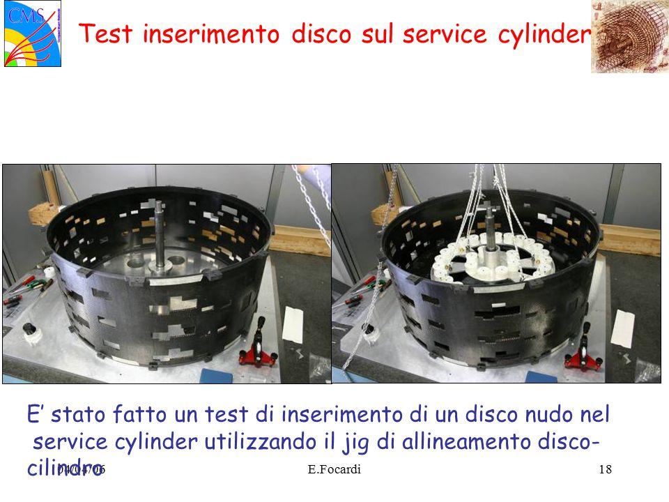 04/04/06E.Focardi18 Test inserimento disco sul service cylinder E' stato fatto un test di inserimento di un disco nudo nel service cylinder utilizzando il jig di allineamento disco- cilindro