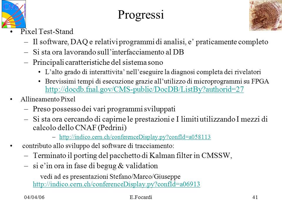 04/04/06E.Focardi41 Progressi Pixel Test-Stand –Il software, DAQ e relativi programmi di analisi, e' praticamente completo –Si sta ora lavorando sull'interfacciamento al DB –Principali caratteristiche del sistema sono L'alto grado di interattivita' nell'eseguire la diagnosi completa dei rivelatori Brevissimi tempi di esecuzione grazie all'utilizzo di microprogrammi su FPGA http://docdb.fnal.gov/CMS-public/DocDB/ListBy authorid=27 http://docdb.fnal.gov/CMS-public/DocDB/ListBy authorid=27 Allineamento Pixel –Preso possesso dei vari programmi sviluppati –Si sta ora cercando di capirne le prestazioni e I limiti utilizzando I mezzi di calcolo dello CNAF (Pedrini) –http://indico.cern.ch/conferenceDisplay.py confId=a058113http://indico.cern.ch/conferenceDisplay.py confId=a058113 contributo allo sviluppo del software di tracciamento: –Terminato il porting del pacchetto di Kalman filter in CMSSW, –si e'in ora in fase di begug & validation vedi ad es presentazioni Stefano/Marco/Giuseppe http://indico.cern.ch/conferenceDisplay.py confId=a06913 http://indico.cern.ch/conferenceDisplay.py confId=a06913