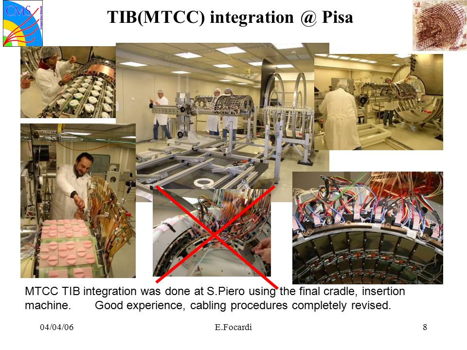 04/04/06E.Focardi8 TIB(MTCC) integration @ Pisa MTCC TIB integration was done at S.Piero using the final cradle, insertion machine.