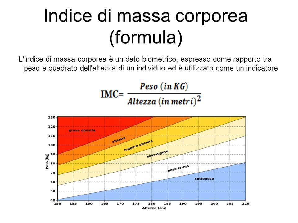 Indice di massa corporea (formula) L'indice di massa corporea è un dato biometrico, espresso come rapporto tra peso e quadrato dell'altezza di un indi
