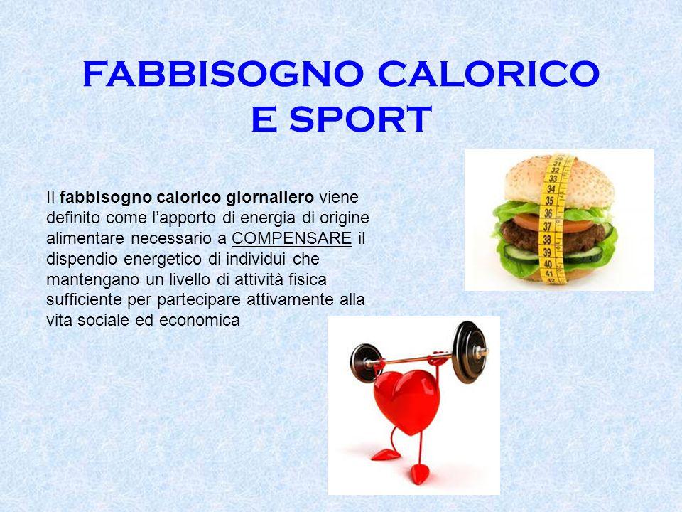FABBISOGNO CALORICO E SPORT Il fabbisogno calorico giornaliero viene definito come l'apporto di energia di origine alimentare necessario a COMPENSARE