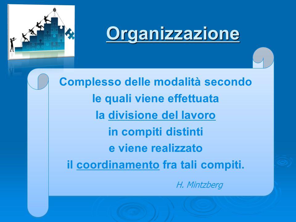 Organizzazione Complesso delle modalità secondo le quali viene effettuata la divisione del lavoro in compiti distinti e viene realizzato il coordiname