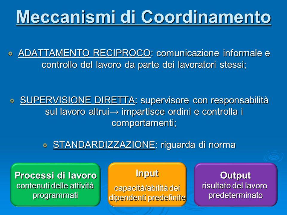 Meccanismi di Coordinamento ADATTAMENTO RECIPROCO: comunicazione informale e controllo del lavoro da parte dei lavoratori stessi; SUPERVISIONE DIRETTA