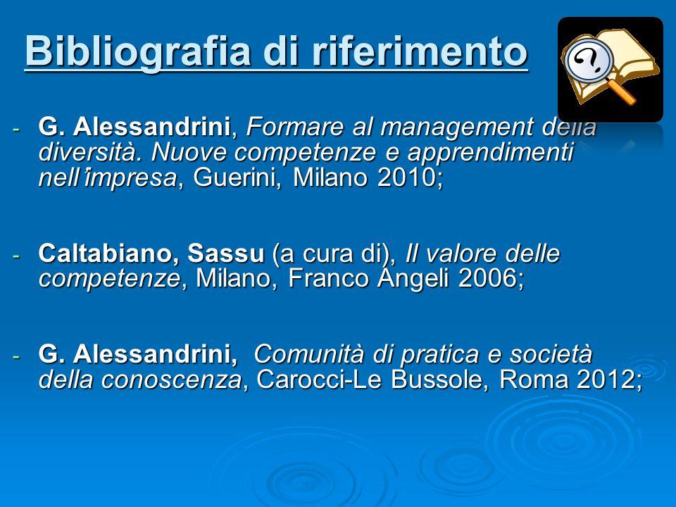 Bibliografia di riferimento - G. Alessandrini, Formare al management della diversità. Nuove competenze e apprendimenti nell'impresa, Guerini, Milano 2