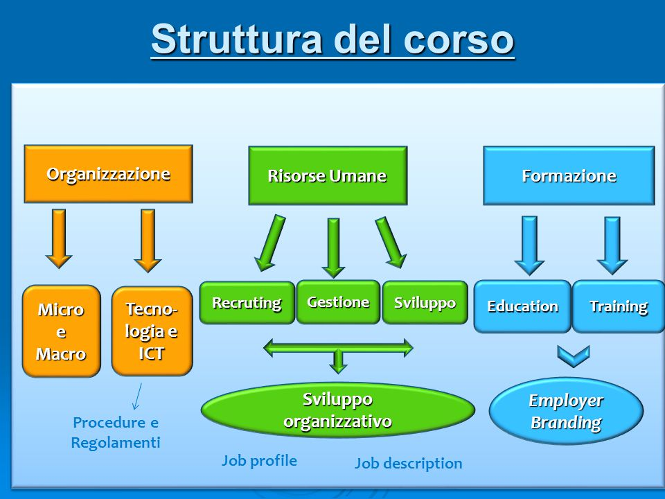 Struttura del corso Organizzazione Risorse Umane Formazione Micro e Macro Tecno- logia e ICT EducationTraining Recruting Gestione Sviluppo Employer Br