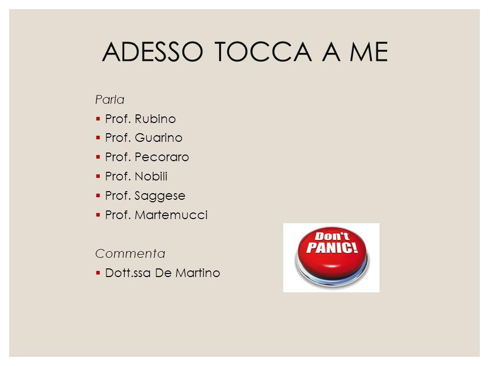 ADESSO TOCCA A ME Parla  Prof. Rubino  Prof. Guarino  Prof. Pecoraro  Prof. Nobili  Prof. Saggese  Prof. Martemucci Commenta  Dott.ssa De Marti