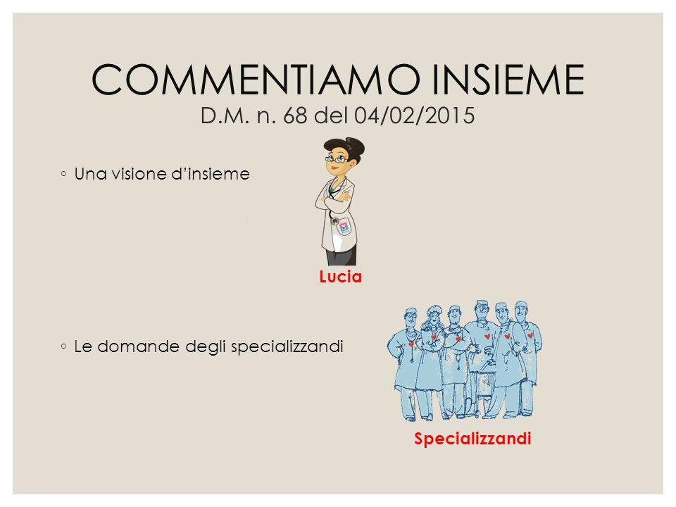COMMENTIAMO INSIEME D.M. n. 68 del 04/02/2015 ◦ Una visione d'insieme ◦ Le domande degli specializzandi Specializzandi Lucia