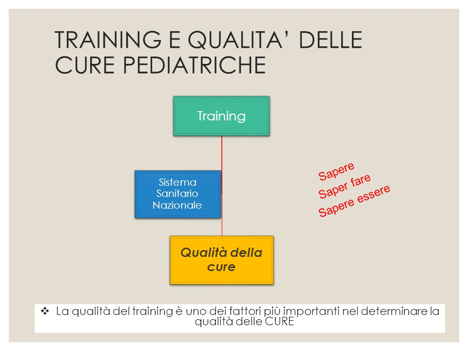 Training Qualità della cure Sistema Sanitario Nazionale TRAINING E QUALITA' DELLE CURE PEDIATRICHE  La qualità del training è uno dei fattori più imp