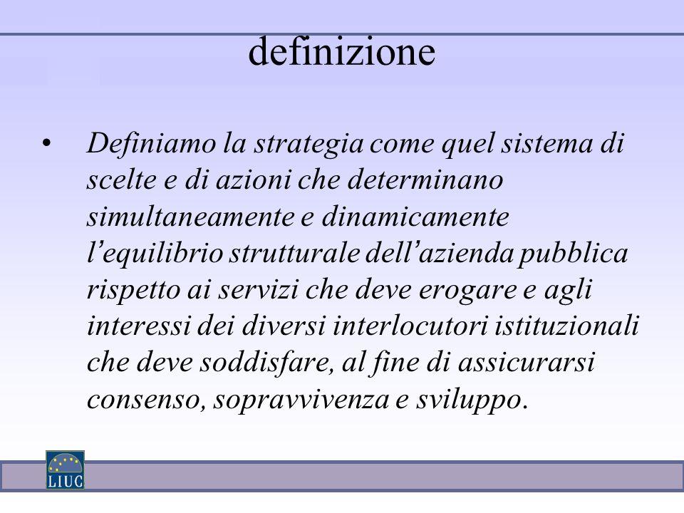 Definiamo la strategia come quel sistema di scelte e di azioni che determinano simultaneamente e dinamicamente l ' equilibrio strutturale dell ' azien