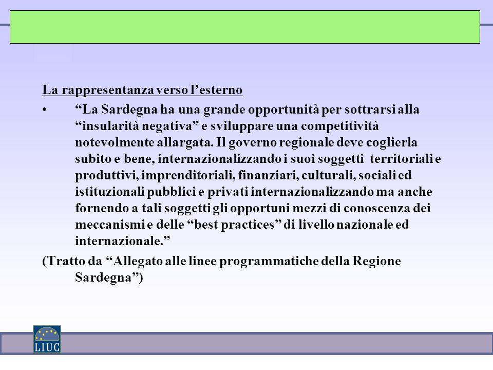La rappresentanza verso l'esterno La Sardegna ha una grande opportunità per sottrarsi alla insularità negativa e sviluppare una competitività notevolmente allargata.