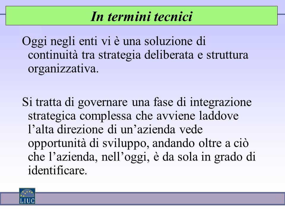 Oggi negli enti vi è una soluzione di continuità tra strategia deliberata e struttura organizzativa.