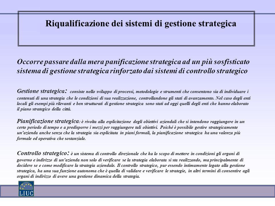 Occorre passare dalla mera panificazione strategica ad un più sosfisticato sistema di gestione strategica rinforzato dai sistemi di controllo strategi