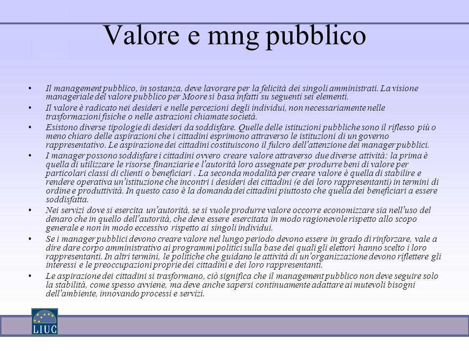 Valore e mng pubblico Il management pubblico, in sostanza, deve lavorare per la felicità dei singoli amministrati.