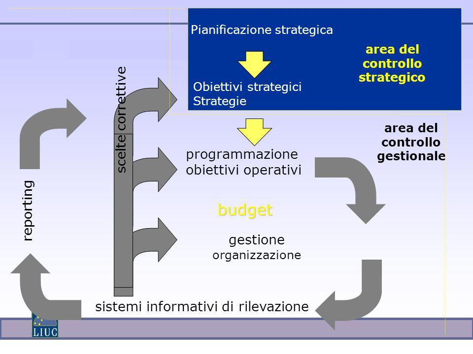 sistemi informativi di rilevazione reporting gestione organizzazione area del controllo strategico area del controllo gestionale Pianificazione strategica Obiettivi strategici Strategie programmazione obiettivi operativi budget scelte correttive