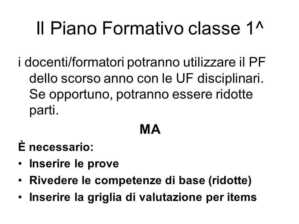 Il Piano Formativo classe 1^ i docenti/formatori potranno utilizzare il PF dello scorso anno con le UF disciplinari.