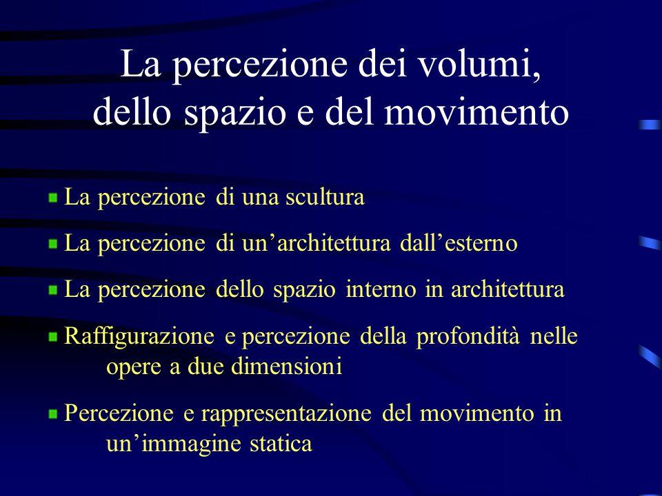 La percezione dei volumi, dello spazio e del movimento La percezione di una scultura La percezione di un'architettura dall'esterno La percezione dello