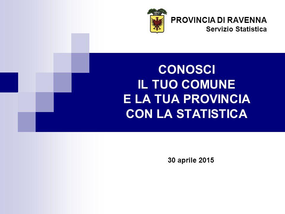 CONOSCI IL TUO COMUNE E LA TUA PROVINCIA CON LA STATISTICA PROVINCIA DI RAVENNA Servizio Statistica 30 aprile 2015