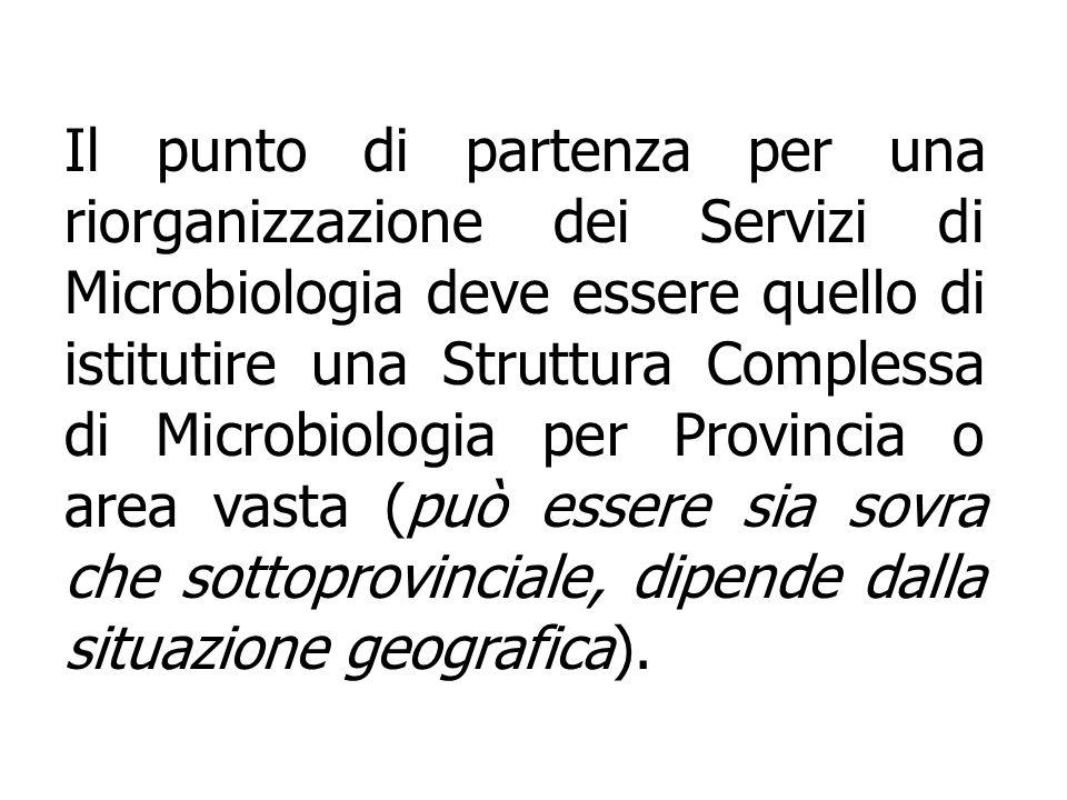 Il punto di partenza per una riorganizzazione dei Servizi di Microbiologia deve essere quello di istitutire una Struttura Complessa di Microbiologia per Provincia o area vasta (può essere sia sovra che sottoprovinciale, dipende dalla situazione geografica).