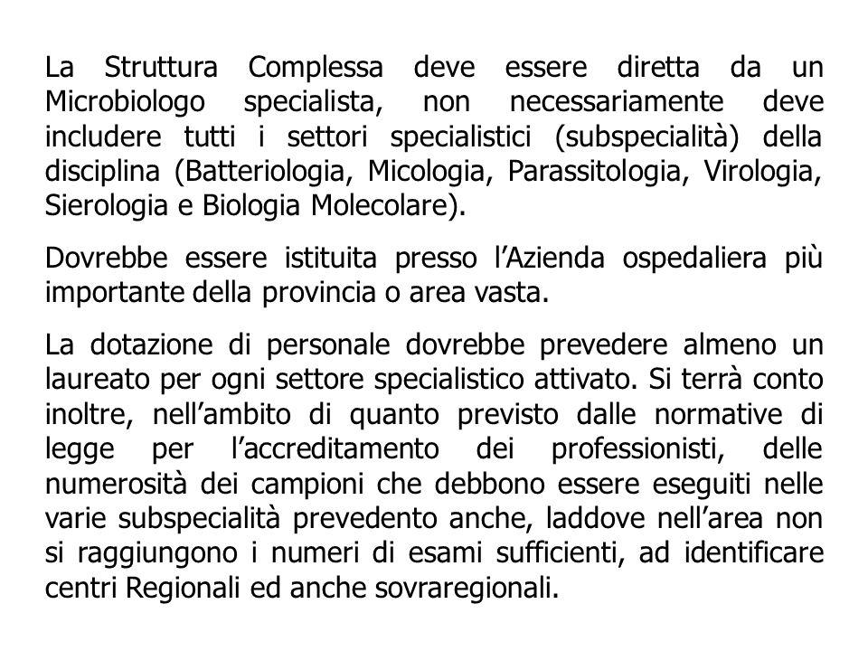 La Struttura Complessa deve essere diretta da un Microbiologo specialista, non necessariamente deve includere tutti i settori specialistici (subspecialità) della disciplina (Batteriologia, Micologia, Parassitologia, Virologia, Sierologia e Biologia Molecolare).