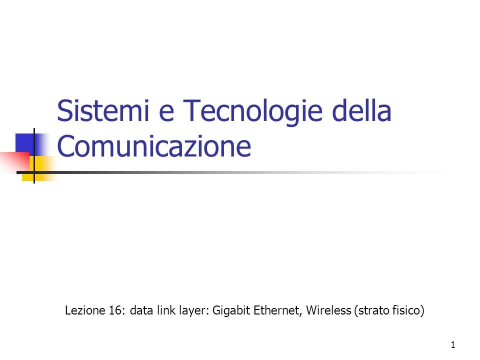 12 Strato fisico per le reti 802.11 (cont.) 802.11 DSSS (Direct Sequence Spread Spectrum) (cont.) la banda disponibile e' suddivisa in 14 canali di 5 MHz ciascuno, a partire da 2.412 GHz le stazioni debbono essere configurate per determinare il canale utilizzato non tutti i canali sono disponibili in tutti i paesi in USA il canale 14 e' proibito, in Spagna sono ammessi solo il 10 e l'11, in Italia sono tutti ammessi le antenne trasmettono a 11 MHz; con modulazioni PSK a 2 o 4 livelli e 11 chip per bit lo standard permette trasmissioni a 1 o 2 Mbps poiche' l'ampiezza di banda del segnale inviato e' intorno ai 22 MHz, nonostante i filtri dell'elettronica per non interferire due trasmissioni indipendenti nella stessa area debbono utilizzare canali separati da almeno 5 canali