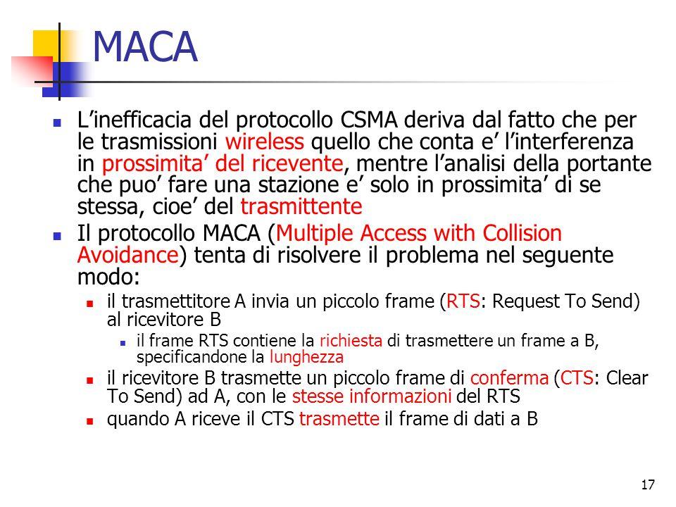 17 MACA L'inefficacia del protocollo CSMA deriva dal fatto che per le trasmissioni wireless quello che conta e' l'interferenza in prossimita' del ricevente, mentre l'analisi della portante che puo' fare una stazione e' solo in prossimita' di se stessa, cioe' del trasmittente Il protocollo MACA (Multiple Access with Collision Avoidance) tenta di risolvere il problema nel seguente modo: il trasmettitore A invia un piccolo frame (RTS: Request To Send) al ricevitore B il frame RTS contiene la richiesta di trasmettere un frame a B, specificandone la lunghezza il ricevitore B trasmette un piccolo frame di conferma (CTS: Clear To Send) ad A, con le stesse informazioni del RTS quando A riceve il CTS trasmette il frame di dati a B