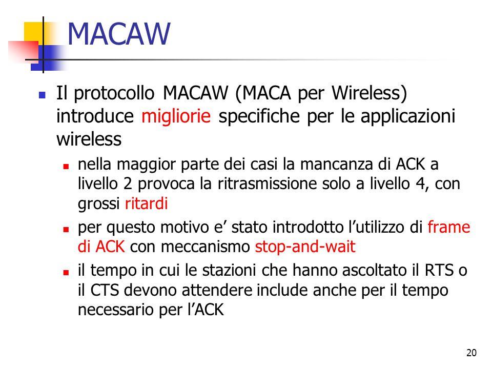 20 MACAW Il protocollo MACAW (MACA per Wireless) introduce migliorie specifiche per le applicazioni wireless nella maggior parte dei casi la mancanza di ACK a livello 2 provoca la ritrasmissione solo a livello 4, con grossi ritardi per questo motivo e' stato introdotto l'utilizzo di frame di ACK con meccanismo stop-and-wait il tempo in cui le stazioni che hanno ascoltato il RTS o il CTS devono attendere include anche per il tempo necessario per l'ACK