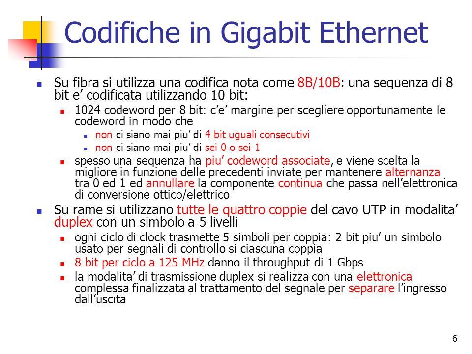 6 Codifiche in Gigabit Ethernet Su fibra si utilizza una codifica nota come 8B/10B: una sequenza di 8 bit e' codificata utilizzando 10 bit: 1024 codeword per 8 bit: c'e' margine per scegliere opportunamente le codeword in modo che non ci siano mai piu' di 4 bit uguali consecutivi non ci siano mai piu' di sei 0 o sei 1 spesso una sequenza ha piu' codeword associate, e viene scelta la migliore in funzione delle precedenti inviate per mantenere alternanza tra 0 ed 1 ed annullare la componente continua che passa nell'elettronica di conversione ottico/elettrico Su rame si utilizzano tutte le quattro coppie del cavo UTP in modalita' duplex con un simbolo a 5 livelli ogni ciclo di clock trasmette 5 simboli per coppia: 2 bit piu' un simbolo usato per segnali di controllo si ciascuna coppia 8 bit per ciclo a 125 MHz danno il throughput di 1 Gbps la modalita' di trasmissione duplex si realizza con una elettronica complessa finalizzata al trattamento del segnale per separare l'ingresso dall'uscita