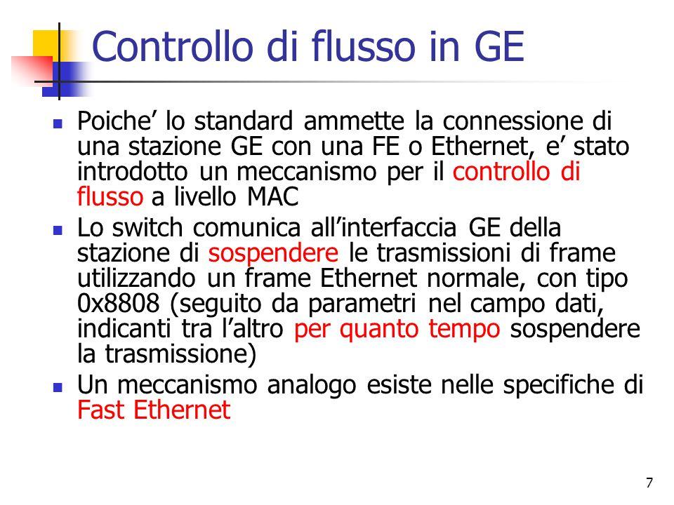 7 Controllo di flusso in GE Poiche' lo standard ammette la connessione di una stazione GE con una FE o Ethernet, e' stato introdotto un meccanismo per il controllo di flusso a livello MAC Lo switch comunica all'interfaccia GE della stazione di sospendere le trasmissioni di frame utilizzando un frame Ethernet normale, con tipo 0x8808 (seguito da parametri nel campo dati, indicanti tra l'altro per quanto tempo sospendere la trasmissione) Un meccanismo analogo esiste nelle specifiche di Fast Ethernet