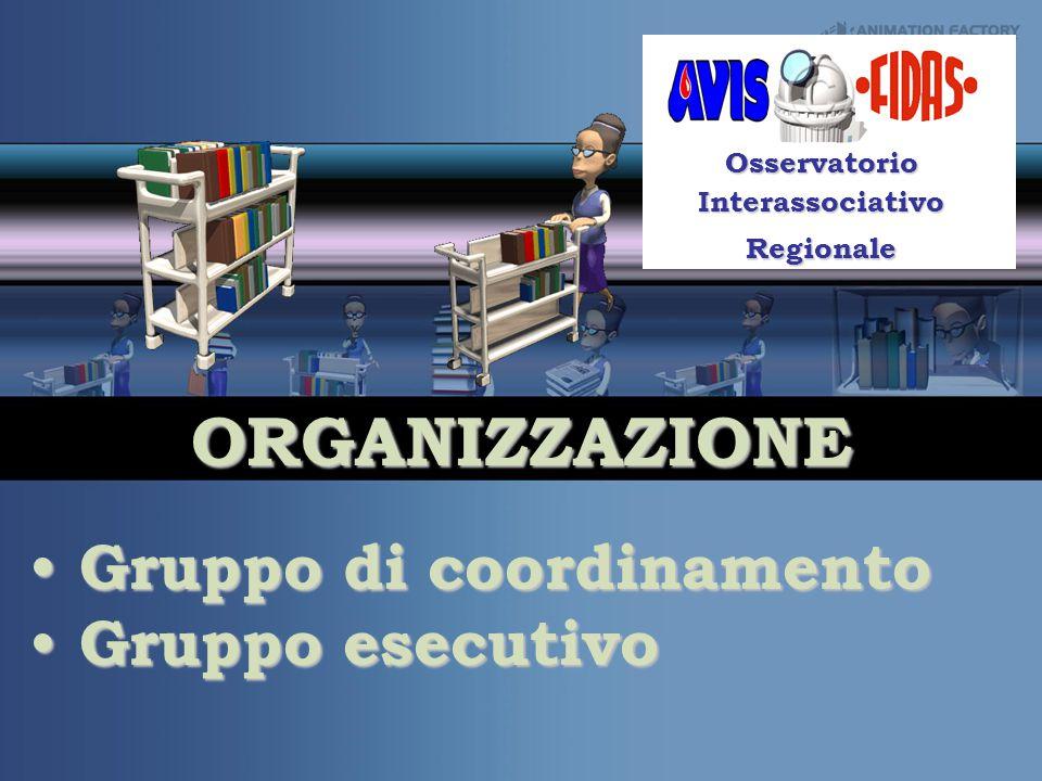 ORGANIZZAZIONE Your Subtitle Goes Here Osservatorio Interassociativo Regionale Gruppo di coordinamento Gruppo di coordinamento Gruppo esecutivo Gruppo esecutivo