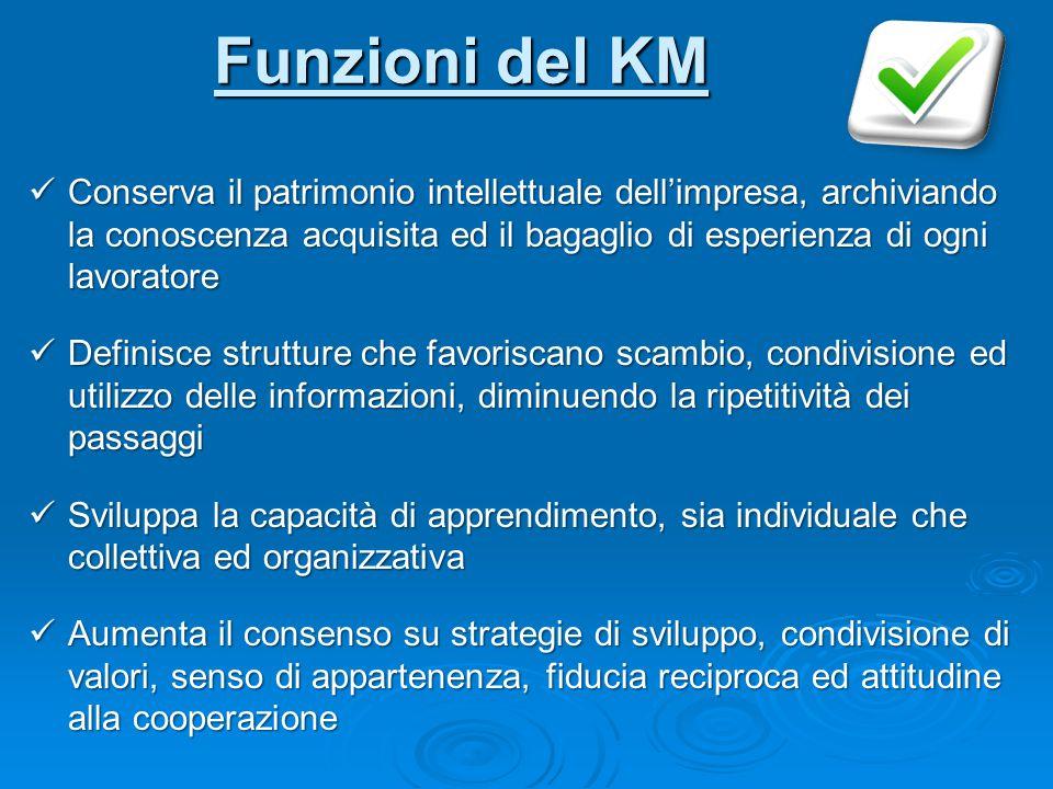 Funzioni del KM Conserva il patrimonio intellettuale dell'impresa, archiviando la conoscenza acquisita ed il bagaglio di esperienza di ogni lavoratore