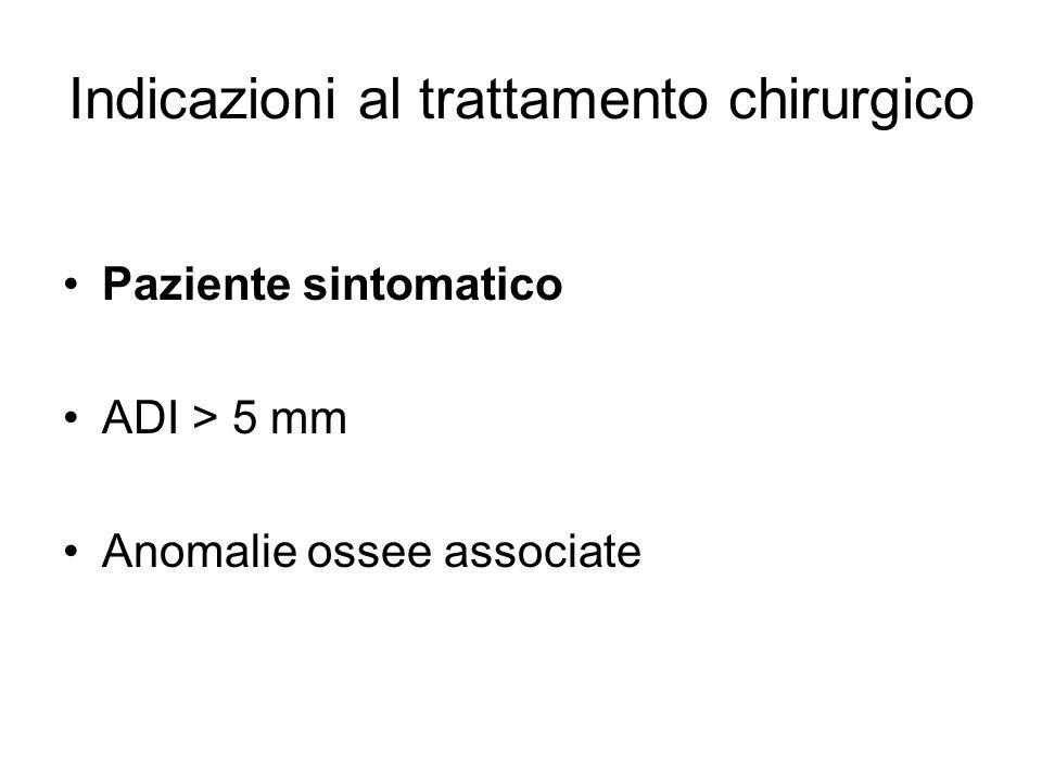 Indicazioni al trattamento chirurgico Paziente sintomatico ADI > 5 mm Anomalie ossee associate