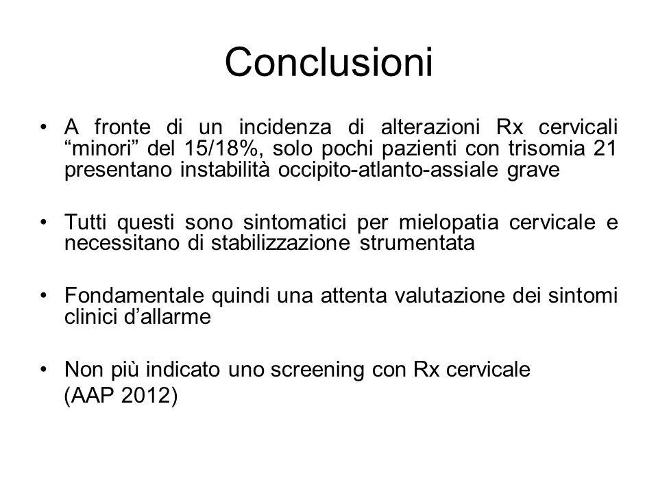 """Conclusioni A fronte di un incidenza di alterazioni Rx cervicali """"minori"""" del 15/18%, solo pochi pazienti con trisomia 21 presentano instabilità occip"""