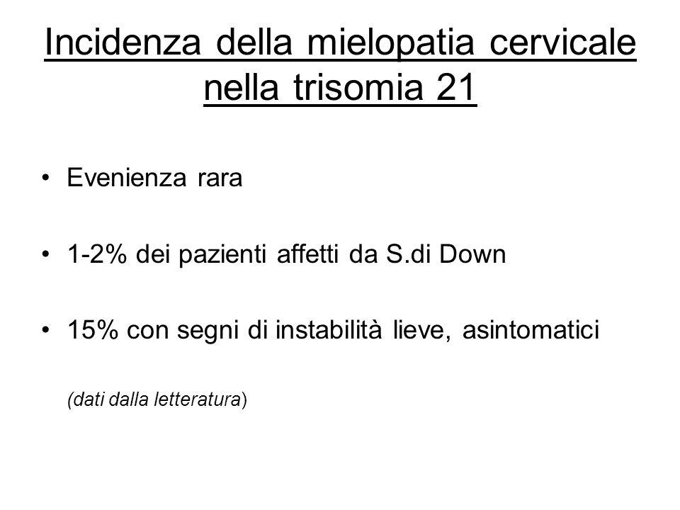 Incidenza della mielopatia cervicale nella trisomia 21 Evenienza rara 1-2% dei pazienti affetti da S.di Down 15% con segni di instabilità lieve, asint