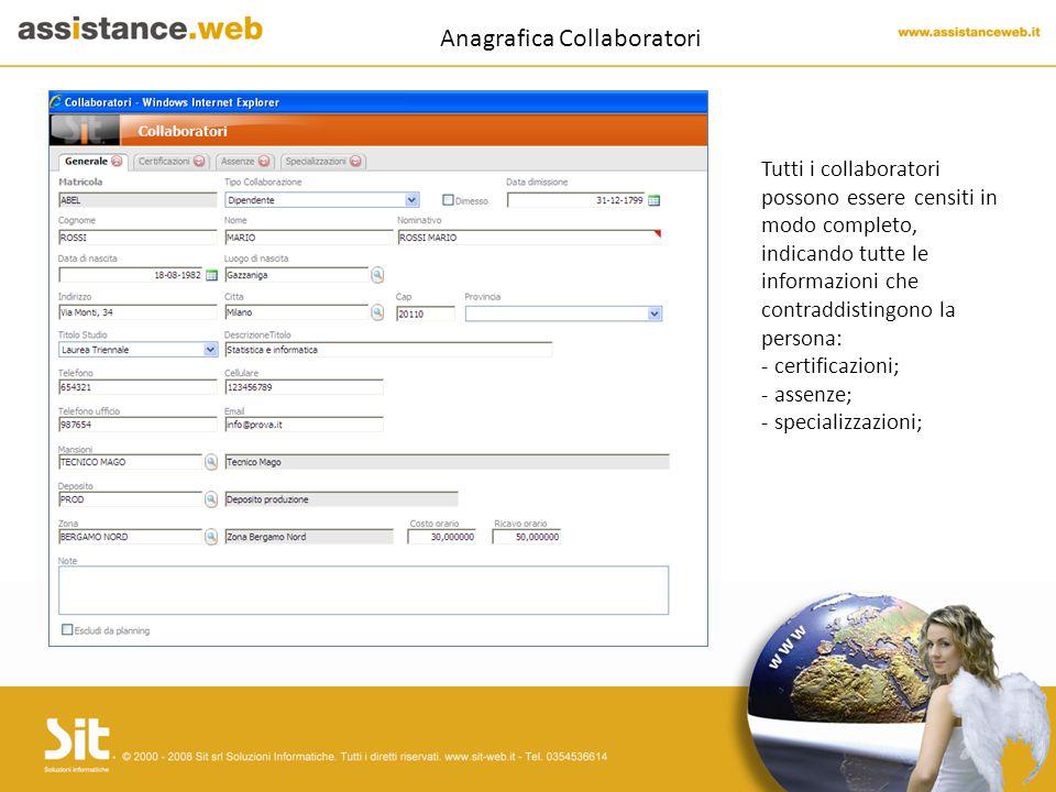 Anagrafica Collaboratori Tutti i collaboratori possono essere censiti in modo completo, indicando tutte le informazioni che contraddistingono la persona: - certificazioni; - assenze; - specializzazioni;