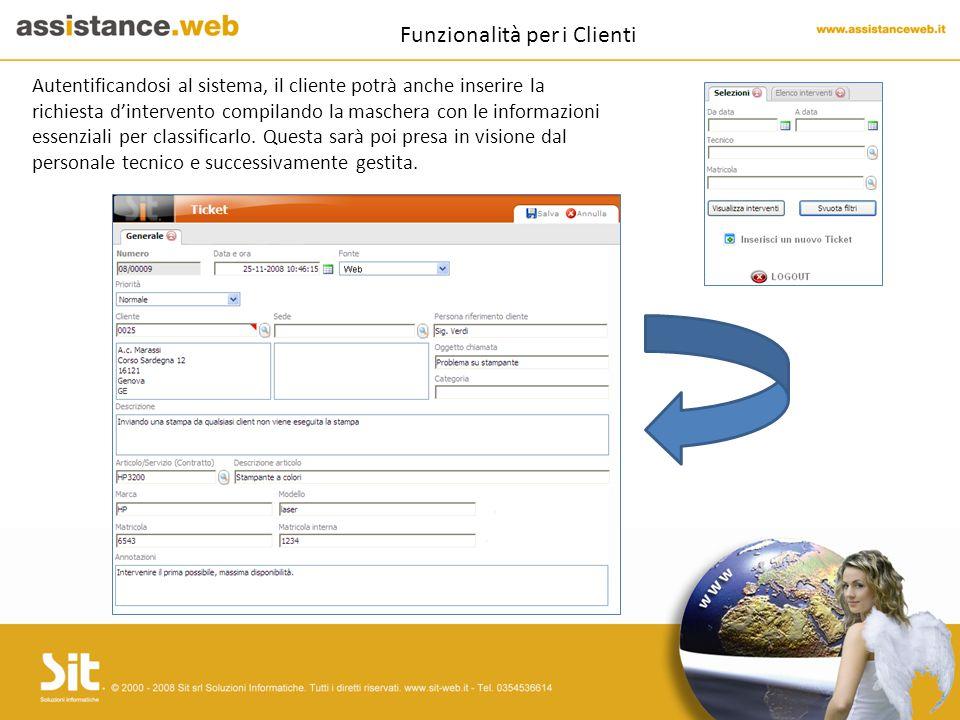 Funzionalità per i Clienti Autentificandosi al sistema, il cliente potrà anche inserire la richiesta d'intervento compilando la maschera con le informazioni essenziali per classificarlo.