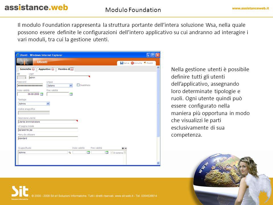 Modulo Foundation Il modulo Foundation rappresenta la struttura portante dell'intera soluzione Wsa, nella quale possono essere definite le configurazioni dell'intero applicativo su cui andranno ad interagire i vari moduli, tra cui la gestione utenti.