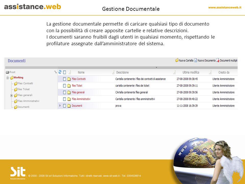 Gestione Documentale La gestione documentale permette di caricare qualsiasi tipo di documento con la possibilità di creare apposite cartelle e relative descrizioni.