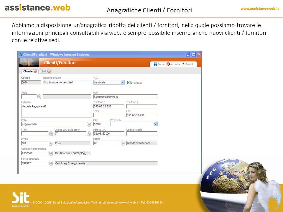 Anagrafiche Clienti / Fornitori Abbiamo a disposizione un'anagrafica ridotta dei clienti / fornitori, nella quale possiamo trovare le informazioni principali consultabili via web, è sempre possibile inserire anche nuovi clienti / fornitori con le relative sedi.