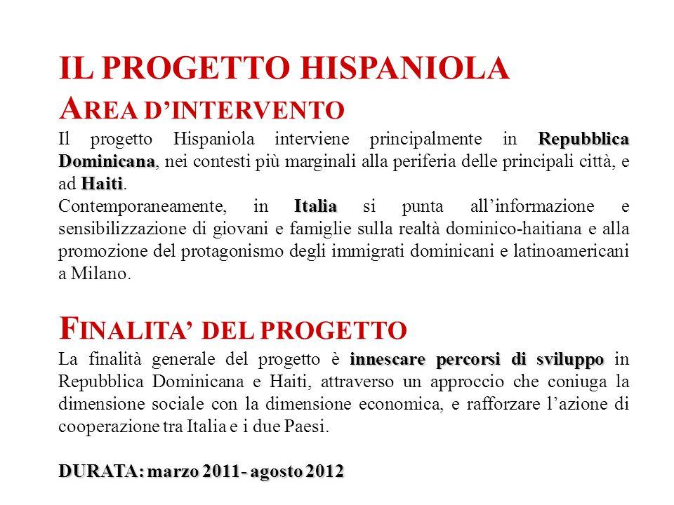 IL PROGETTO HISPANIOLA A REA D'INTERVENTO Repubblica Dominicana Haiti Il progetto Hispaniola interviene principalmente in Repubblica Dominicana, nei contesti più marginali alla periferia delle principali città, e ad Haiti.