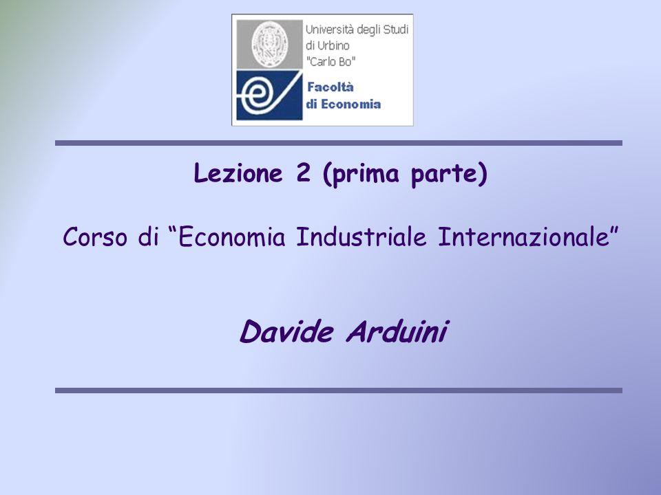 Lezione 2 (prima parte) Corso di Economia Industriale Internazionale Davide Arduini