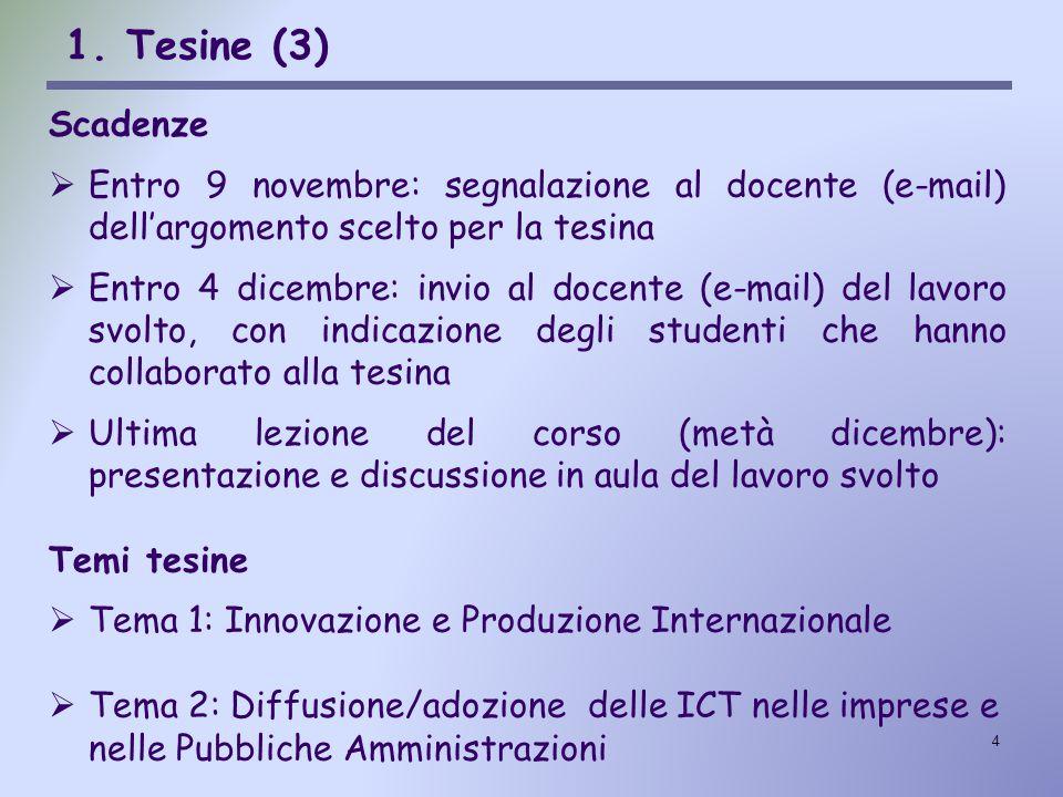 4 1. Tesine (3) Scadenze  Entro 9 novembre: segnalazione al docente (e-mail) dell'argomento scelto per la tesina  Entro 4 dicembre: invio al docente