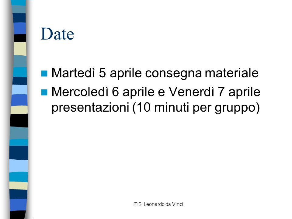 ITIS Leonardo da Vinci Date Martedì 5 aprile consegna materiale Mercoledì 6 aprile e Venerdì 7 aprile presentazioni (10 minuti per gruppo)