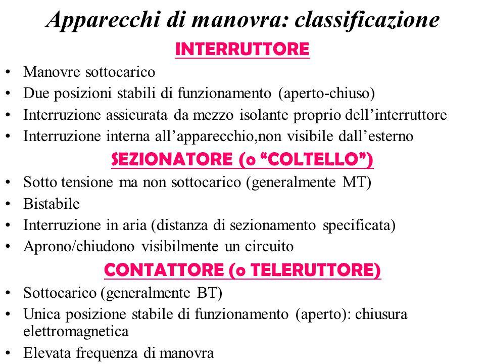 Apparecchi di manovra: classificazione INTERRUTTORE Manovre sottocarico Due posizioni stabili di funzionamento (aperto-chiuso) Interruzione assicurata