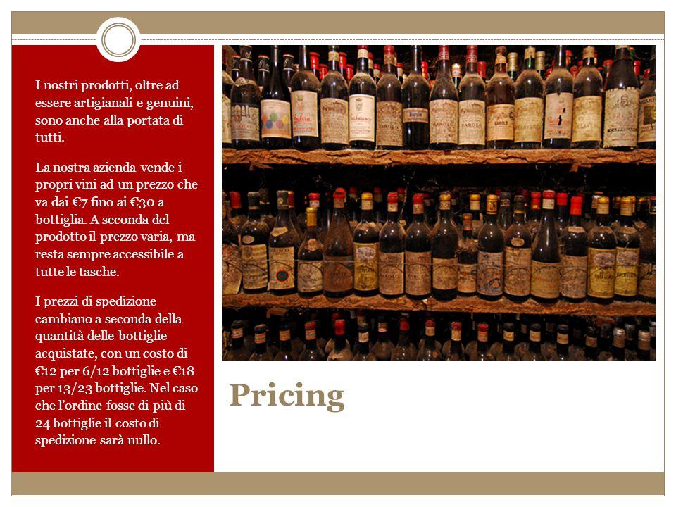 Pricing I nostri prodotti, oltre ad essere artigianali e genuini, sono anche alla portata di tutti. La nostra azienda vende i propri vini ad un prezzo