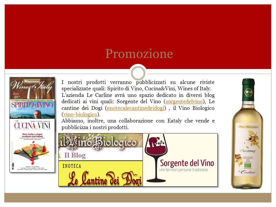 Promozione I nostri prodotti verranno pubblicizzati su alcune riviste specializzate quali: Spirito di Vino, Cucina&Vini, Wines of Italy. L'azienda Le